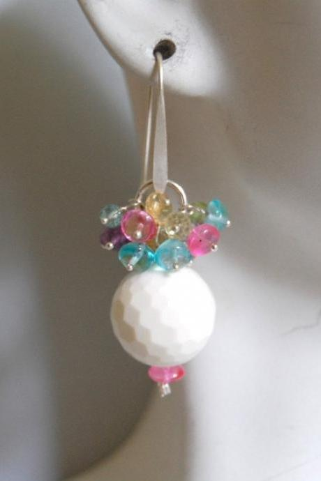 Genuine white onyx and multi color clusters earrings