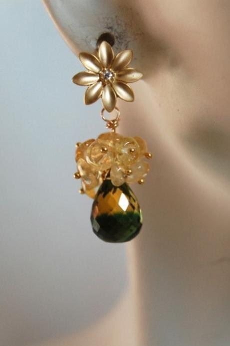 AAA yellow green bi-colour quartz and citrine cluster earrings