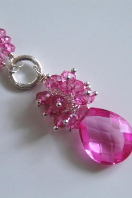 AAA Hot Pink quartz briolette and mystic Rubelite necklace