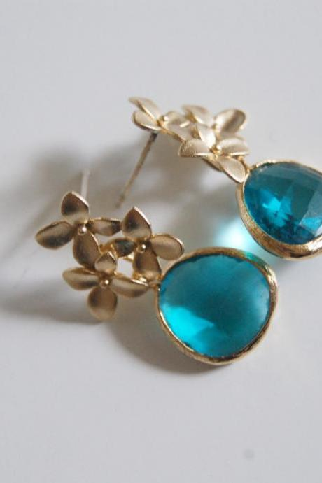 Glass blue zircon, gold bezel setting dangle earrings