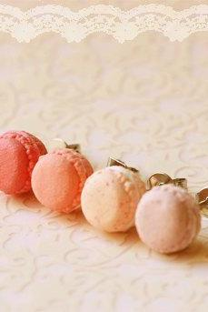 Food Earrings - Macaron Earrings in Dusty Pink Series