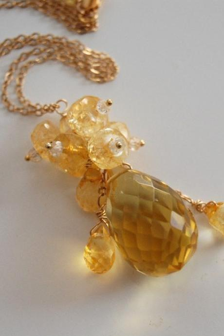 Golden crystal quartz and citrine necklace