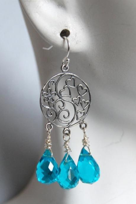 London blue Quartz and sterling silver floral chandelier earrings