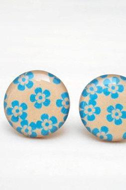 Nude and Blue Floral Earrings, Delicate Everyday Jewellery, Simple Gift