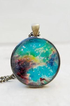 Nebula Necklace Pendant, Colourful, Teal Blue Brown, Galaxy
