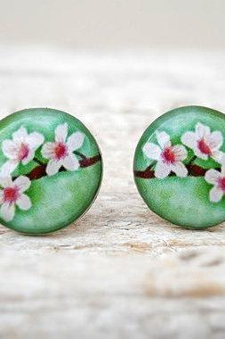 Cherry Blossom Earrings Green White Brown, Small Studs Posts, Woodland Jewelry (E24)