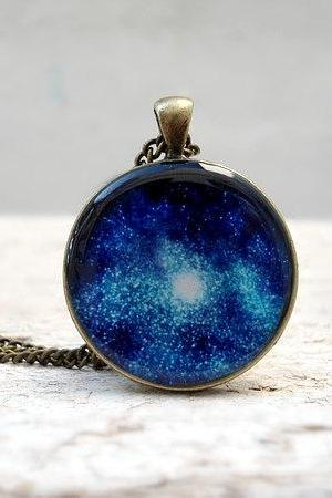 Galaxy Necklace, Nebula Pendant, Blue Glitter