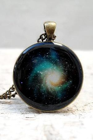 Galaxy Necklace, Nebula Pendant, Baby Blue Black Beige, Fantasy
