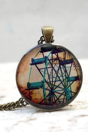 Ferris wheel, Carnival Necklace Pendant in Brown Teal, Retro Circus Made to Order