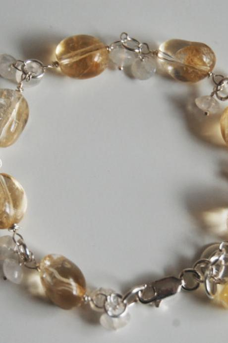 Citrine And Moonstone Bracelet with Sterling silver