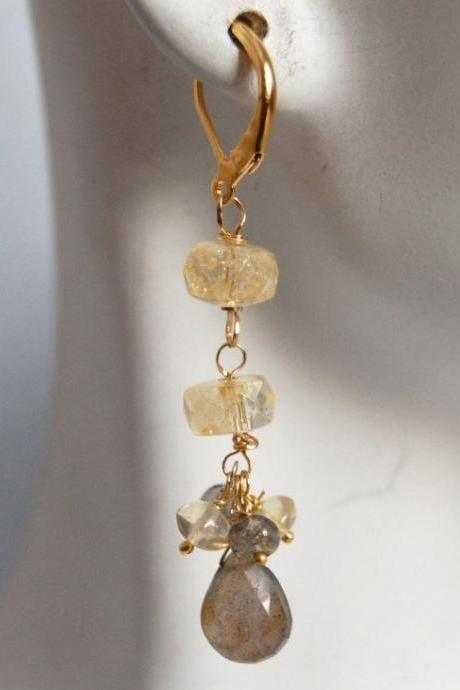 AAA Labdradorite and citrine dangle earrings