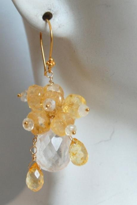 Crystal quartz and Citrine earrings