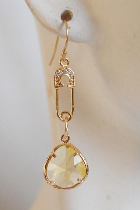 Bezel setting Glass citrine dangle earrings