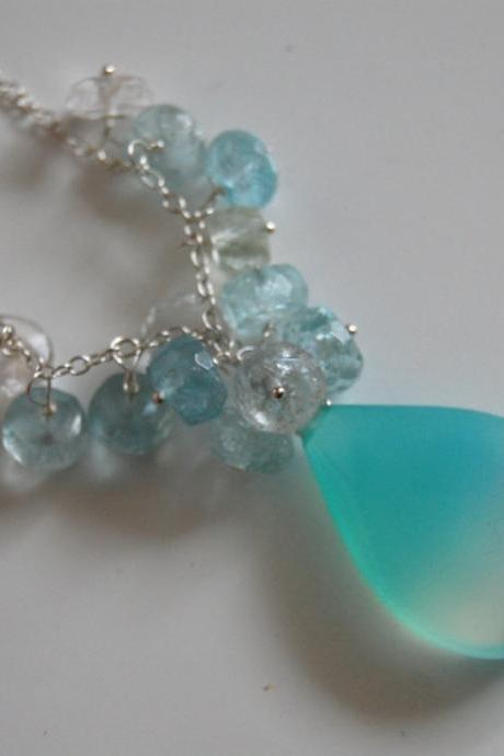 Light blue shaded smooth teardrop chalcedony and amazonite necklace