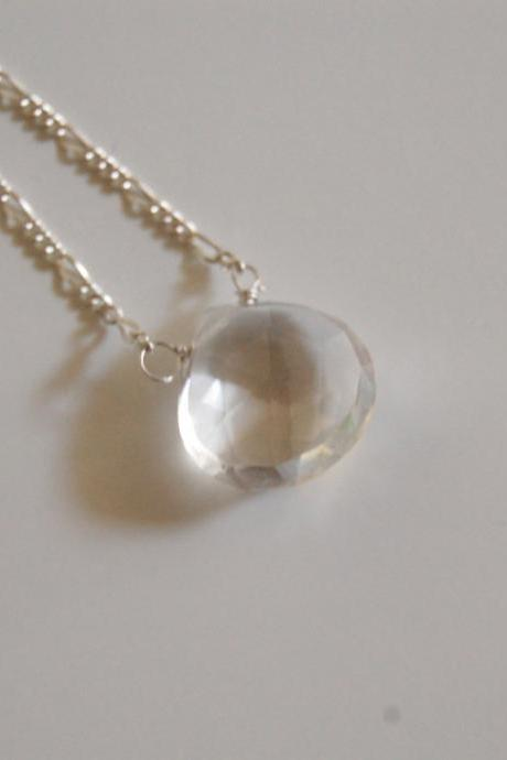 Clear Crystal Quartz necklace with sterling silver