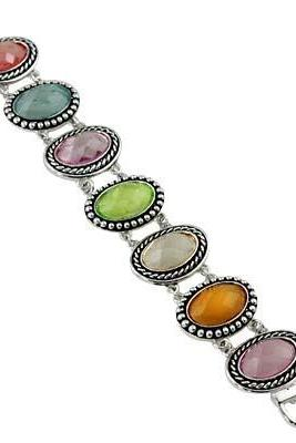 Multi-colored Faceted Ovals Bracelet