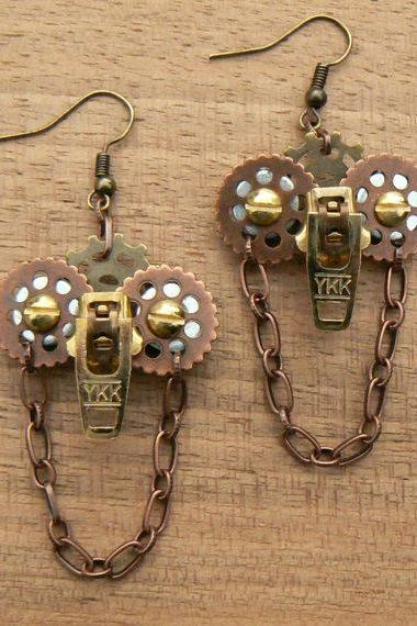 Steampunk Earrings - Zipper Earrings - Owl Earrings