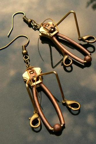 Steampunk Earrings - Zipper Earrings - Grasshopper Earrings