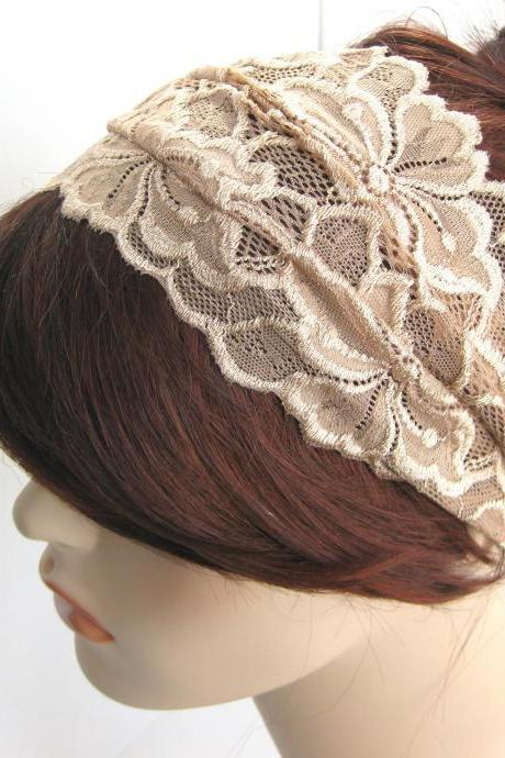 Wide Lace Headband Beige Taupe Flowers Head Wrap Women's Hairband Hair Accessory