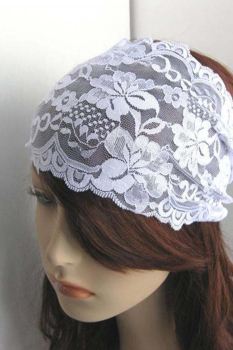 Wide White Stretch Lace Headband Flowers Head Wrap Women's Hairband Hair Covering Wedding Accessory Bridal Wear