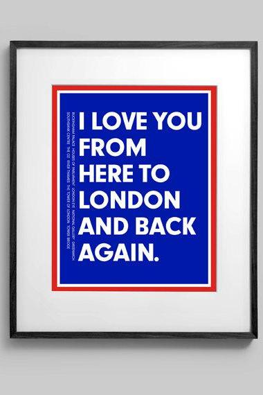 Personalized I Love You From Here To London and Back Again 8x10 Typography Travel Artwork Poster Print Nursery Wall Decor Gift Art