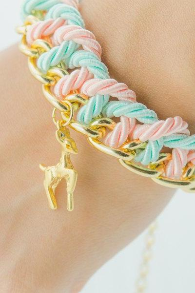 reindeer with Pastel Braided Chunky Chain Bracelet , reindeer friendship bracelet , single Knot chain bracelet,pastel bracelet