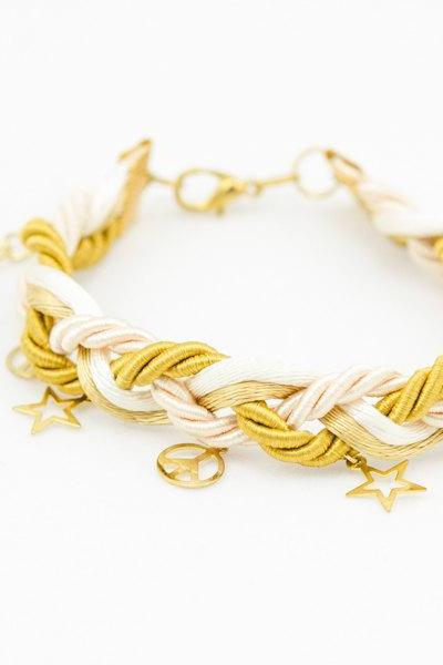 ivory and gold braided bracelet with star, bridesmaids gift wrap bracelet , friendship bracelet
