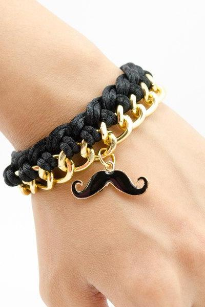 mustache Gold Braided Chain Bracelet , mustache with black woven chain bracelet , braided bracelet