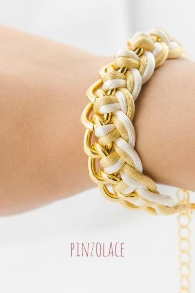 Gold Braided Chain Bracelet , Single Chain Bracelet , Knot chain bracelet, Twist bracelet