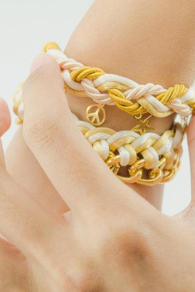 Braid with Star bracelet and single twist chain bracelet with ivory and gold color ,Braid knot chain bracelet