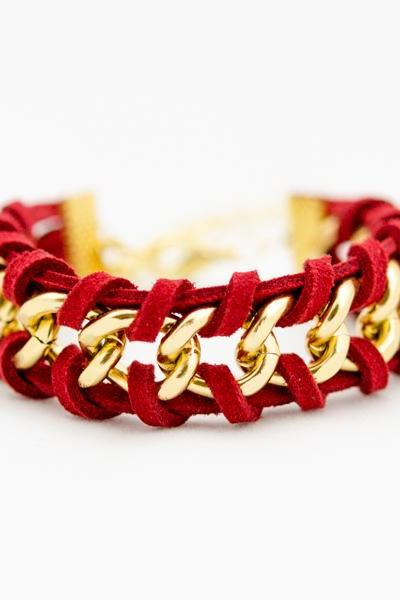 red woven chain bracelet , gold chain bracelet , gold chain bracelet , red woven bracelet , leather bracelet