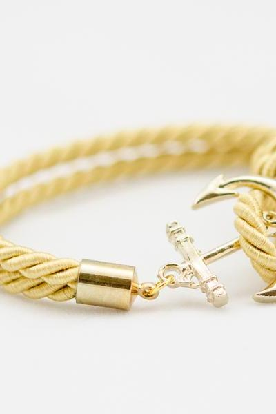 Gold Anchor Rope Bracelet , Anchor Bracelet , Gold Rope Bracelet with anchor , bridesmaid gift rope bracelet