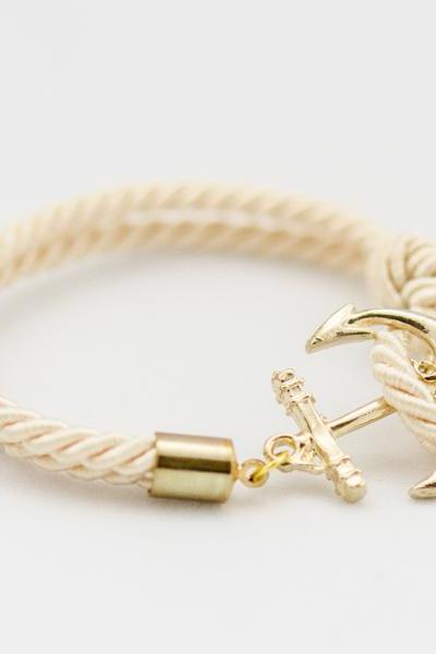 Gold Anchor Rope Bracelet with ivory color , Anchor Bracelet , ivory Rope Bracelet , bridesmaid gift