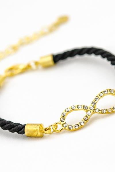 bridesmaid gift infinity bracelet ,tiny infinity bracelet black , Rhinestone Gold infinity Bracelet with black color
