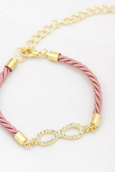 Rhinestone Gold infinity Bracelet with coral pink color , tiny infinity bracelet coral pink ,bridesmaid gift infinity bracelet