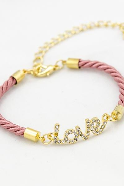 bridesmaid gift love bracelet , Rhinestone Gold Love Bracelet with coral pink color , gold love bracelet coral pink