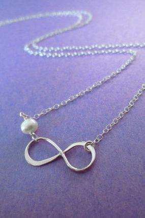 Infinity, Sterling Silver, Freshwater, Pearl, Necklace