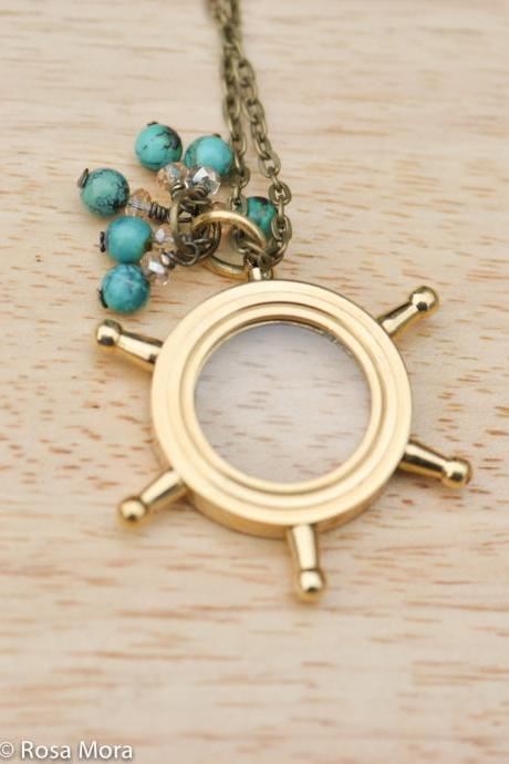 Magnifying Glass Nautical Necklace-Ship wheel Necklace
