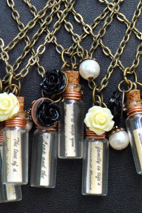 Bridesmaids Gifts-Personalized Message in a Bottle Necklace