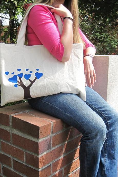 The Friendship Bag in Blue - BKD Signature Original Design - Listing for TWO Linking Totes