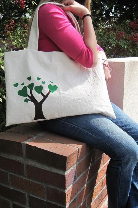 The Friendship Bag in Green - BKD Signature Original Design - Listing for TWO Linking Totes