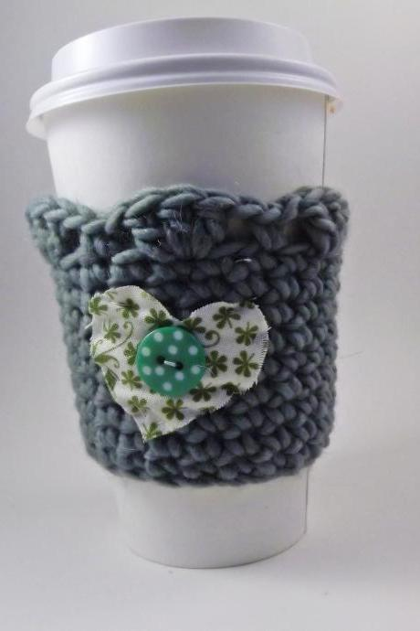 crochet coffee cozy - cottage style - green heart with button