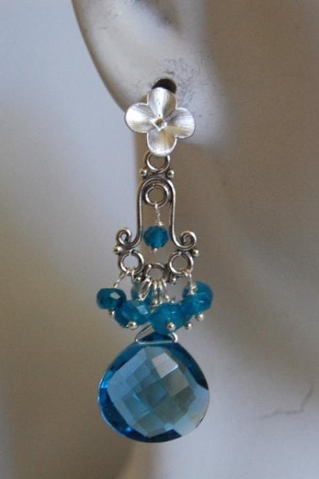 AAA London blue quartz heart briolette and blue Apatite chandelier earrings