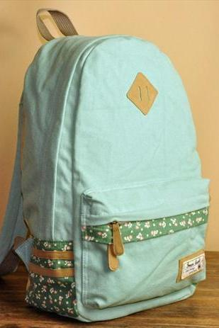 Mint Green Floral Print Backpack