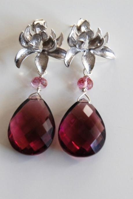 AAA Rhodolite,pink topaz and rhodium plated chrysanthemum ear post earrings