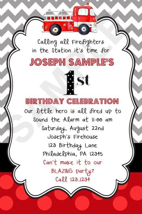 Firetruck Birthday Invitation (Digital File)