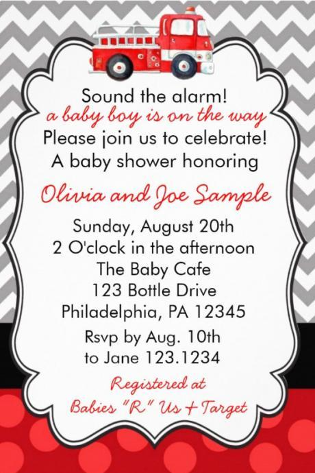 Firetruck Baby Shower Invitation (Digital File)