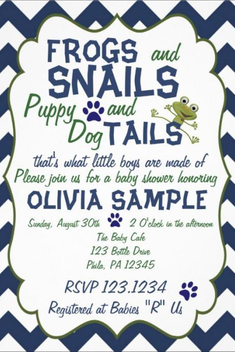 Frogs, Snails and Puppy Baby Shower Invitation (Digital File)