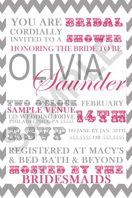 Modern Bridal Shower Invitation (Digital File)