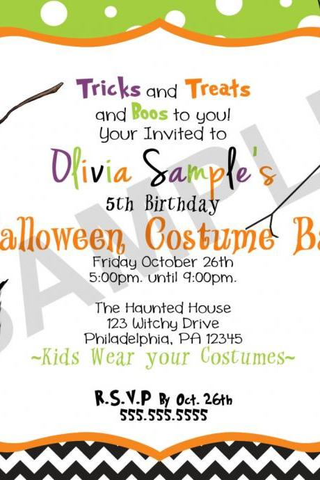 Halloween Chevron Birthday Invitation (Digital File)